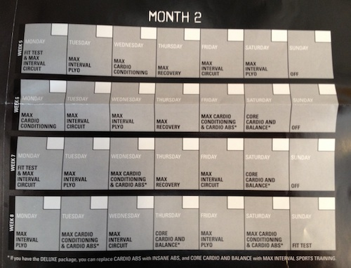 Workout Calendar Month 2 Insanity Month 2